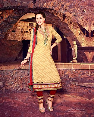 Designer Brasso Cotton  Suit with Dupatta @ Rs353.00