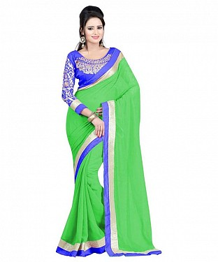 Beautiful Green Embroidery Chiffon Saree@ Rs.656.00