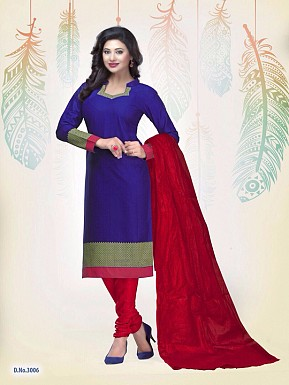 New Blue Cotton Printed Un-stitched Salwar Suits @ Rs1235.00