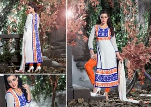 Georgeous White And Orange Straight Suit @ Rs1050.00