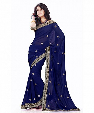 Beautiful Blue Embroidery Georgette Saree @ Rs927.00