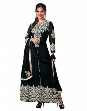 Stunning Black Georgette Semi-Stitched Salwar Suit@ Rs.1484.00