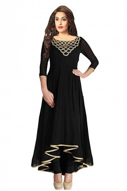 Stunning Black Georgette Semi-Stitched Salwar Suit@ Rs.1298.00