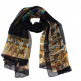 Polyster Printed Black Scarf@ Rs.217.00