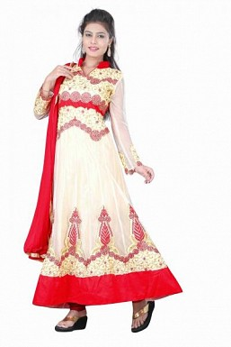 Stunning Cream & Red Net Semi-stitched Salwar Suit @ Rs1762.00
