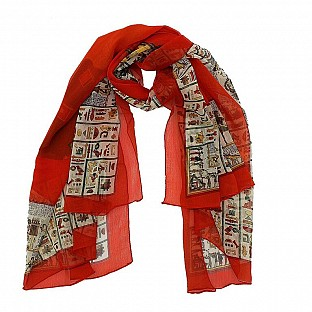 Polyster Printed Red Scarf@ Rs.217.00
