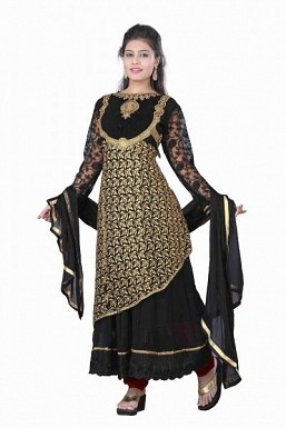 Stunning Black Net Semi-Stitched Salwar Suit @ Rs1854.00