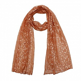 Raschel Printed Light Orange Scarf @ Rs217.00