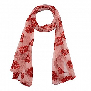 Viscose Printed Pink Scarf @ Rs217.00