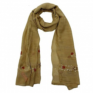 Viscose Embroidered Brown Scarf @ Rs217.00