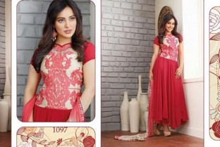 Beautiful Red Geaorgette Semi-Stitched Salwar Suit @ Rs1298.00