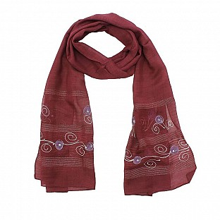 Viscose Embroidered Magenta Scarf @ Rs217.00