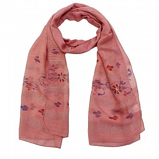 Viscose Embroidered Pink Scarf @ Rs217.00