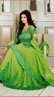Stunning Green Net Semi-Stitched Salwar Suit @ Rs1669.00