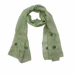 Viscose Embroidered Light Green Scarf @ Rs217.00
