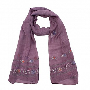 Viscose Embroidered Purple Scarf @ Rs217.00