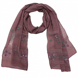 Viscose Embroidered Violet Scarf @ Rs217.00