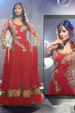 Beautiful Red Geaorgette Semi-Stitched Salwar Suit@ Rs.1391.00