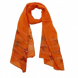Viscose Embroidered Orange Scarf @ Rs217.00