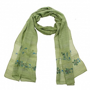Viscose Embroidered Green Scarf@ Rs.217.00