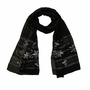 Viscose Embroidered Black Scarf @ Rs217.00