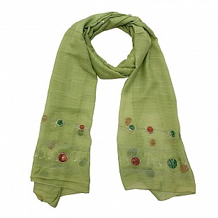 Viscose Embroidered Green Scarf @ Rs217.00