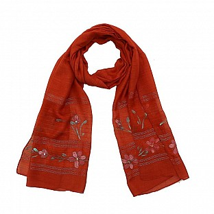 Viscose Embroidered Red Scarf Buy Rs.217.00