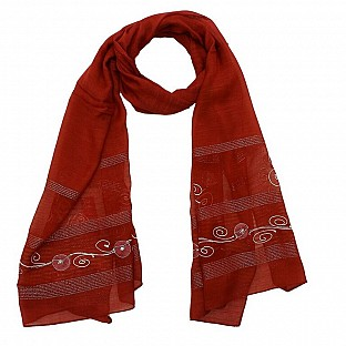 Viscose Embroidered Marron Scarf @ Rs217.00