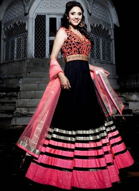 Beautiful Black And Pink Dhupian Semi-Stitched Salwar Suit @ Rs1669.00