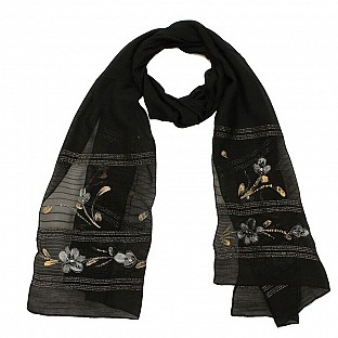 Viscose Embroidered Black Scarf@ Rs.217.00