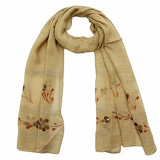 Viscose Embroidered Off-White Scarf@ Rs.217.00