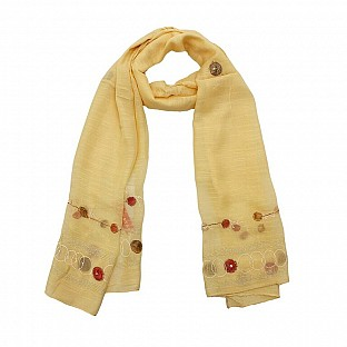 Viscose Embroidered Cream Scarf@ Rs.217.00