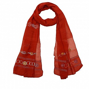 Viscose Embroidered Red Scarf@ Rs.217.00