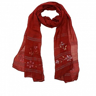 Viscose Embroidered Maroon Scarf @ Rs217.00