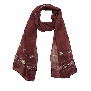 Viscose Embroidered Dusty Pink Scarf @ Rs217.00