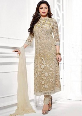 Beautiful Cream Soft Net Semi-Stitched Salwar Suit @ Rs1545.00