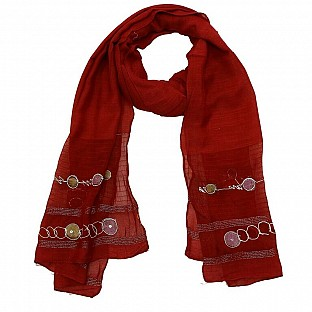 Viscose Embroidered Red Scarf @ Rs217.00