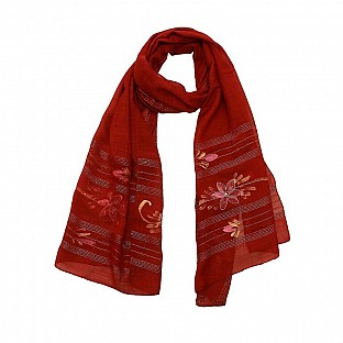 Viscose Embroidered Maroon Scarf@ Rs.217.00