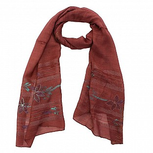 Viscose Embroidered Dusty Pink Scarf@ Rs.217.00