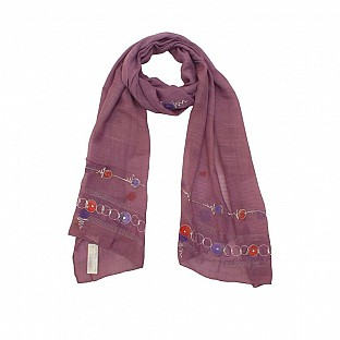 Viscose Embroidered Purple Scarf@ Rs.217.00