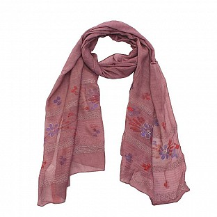 Viscose Embroidered Pink Scarf@ Rs.217.00
