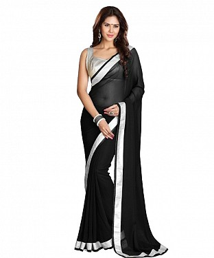 Beautiful Black Lace Work Faux Georgette Saree @ Rs618.00