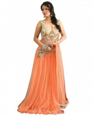 Stunning Orange Net Semi-Stitched Salwar Suit@ Rs.1947.00