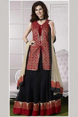 Stunning Black & Red Banarsi Semi-stitched Salwar Suit@ Rs.1947.00