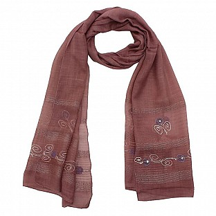 Viscose Embroidered Light Violet Scarf @ Rs217.00