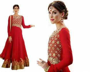 Beautiful Red Geaorgette Semi-Stitched Salwar Suit @ Rs1576.00
