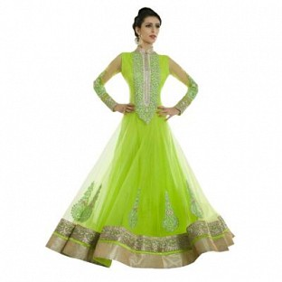 Stunning Green Net Semi-Stitched Salwar Suit@ Rs.1947.00