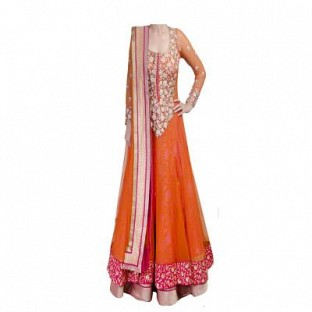Beautiful Orange Soft Net Semi-Stitched Salwar Suit @ Rs2040.00