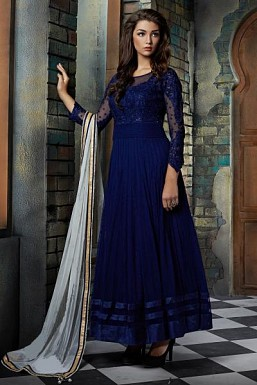 Beautiful Blue Soft Net Semi-Stitched Salwar Suit @ Rs3152.00