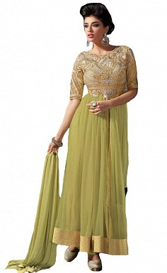 Stunning Light Lemon Net Semi-Stitched Salwar Suit@ Rs.1854.00